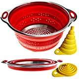 Combo of Collapsible Colander & Folding Funnel - Each Folds to 1 Inch. Silicone & Stainless Steel Kitchen Gadget. Camper/Trailer/RV Accessories for Organization and Storage Solutions. Red Strainer