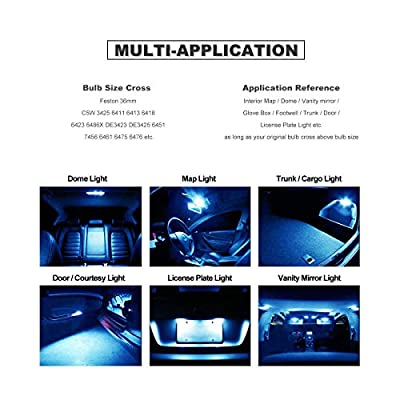 DODOFUN 36MM Festoon 6418 DE3423 DE3425 Ice Blue Color Extra Bright LED Bulbs for Car Interior Lights License Plate Map Dome Trunk Door Courtesy Light 8-SMD Chipset Canbus Error Free: Automotive