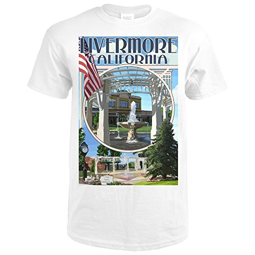 Lantern Press Livermore, California - Montage (Premium White T-Shirt - Premium Livermore