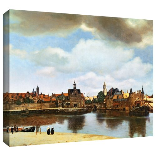 ArtWall Johannes Vermeer 'View of Delft III' Gallery Wrapped Canvas Artwork, 36 by 44-Inch