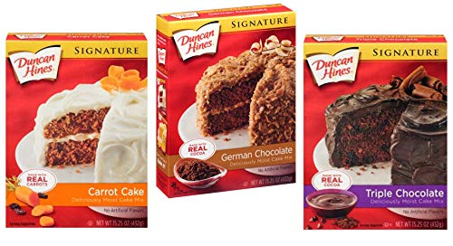 Duncan Hines Signature Cake Mix Variety 3 Pack Bundle - German Chocolate, Triple Chocolate, Classic Carrot Cake Mix