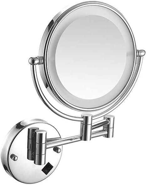 Aumento 10 Pulgadas Espejo Giratorio Extensible Cromado LNDDP Espejo Maquillaje funci/ón giratoria de/360//°/ Espejo cosm/ético 8 Pulgadas Montaje en la Pared del ba/ño/ Espejo Maquillaje Iluminado