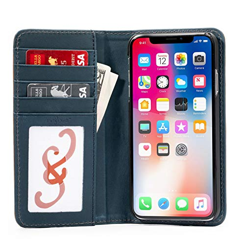 - The Bella Fino Leather Wallet Case Compatible with iPhone Xs Max (Whiskey Deep Sea Blue)