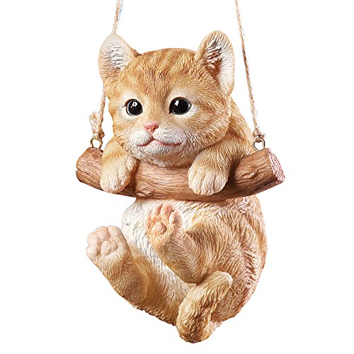 (Hang Around Pets Tree Decoration with 7in Rope for Easy Hanging, Hand Painted Decorative Accent - Gift Ideas for Pet Owners, Tabby Cat)