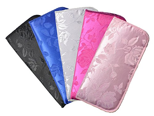 5 Pack Soft Slip In Eyeglass Case For Women- Floral Brocade, Color Assortment