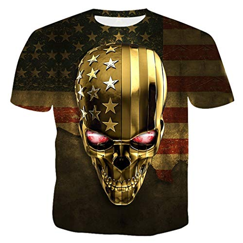 MmNote mens clothes clearance sale, Independence Day Shirt for Men Cranial Head Pattern Retro Punk Modern Fit Yellow ()