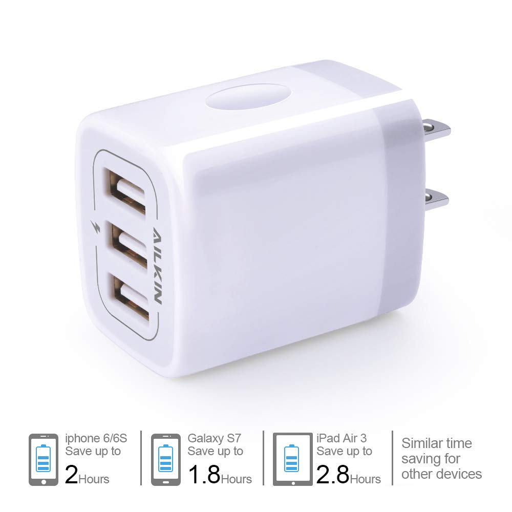 USB Charger Cube, Wall Charger Plug, Ailkin 3.1A 3-Muti Port USB Adapter Power Plug Charging Station Box Base Replacement for iPhone X/8/7, iPad, ...