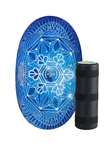 "INDO BOARD Original Balance Board with 6.5"" Roller and 30"" X 18"" Non-Slip Deck – Snowflake Design"