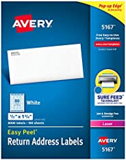 "Avery Address Labels with Sure Feed for Laser Printers, 0.5"" x 1.75"", 8,000 Labels, Permanent Adhes"