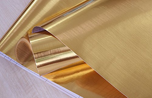 Teemall Gold Texture Contact Paper Film Self Adhesive Peel-Stick Removable Wallpaper 24''x79'' ()