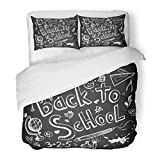 Emvency Bedding Duvet Cover Set Full/Queen (1 Duvet Cover + 2 Pillowcase) Colorful Chalk Back to School Chalkboard Sketch Board Kid Blackboard High Education Hotel Quality Wrinkle and Stain Resistant