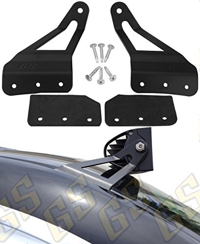 "GS Power 2007-2013 Chevy Silverado & GMC Sierra Curved LED Light Bar Brackets (choices of 50"" / 52"" / 54""). Also for GM SUV: Chevrolet Avalanche, Suburban, Tahoe, Yukon. Mount at Roof Windshield"
