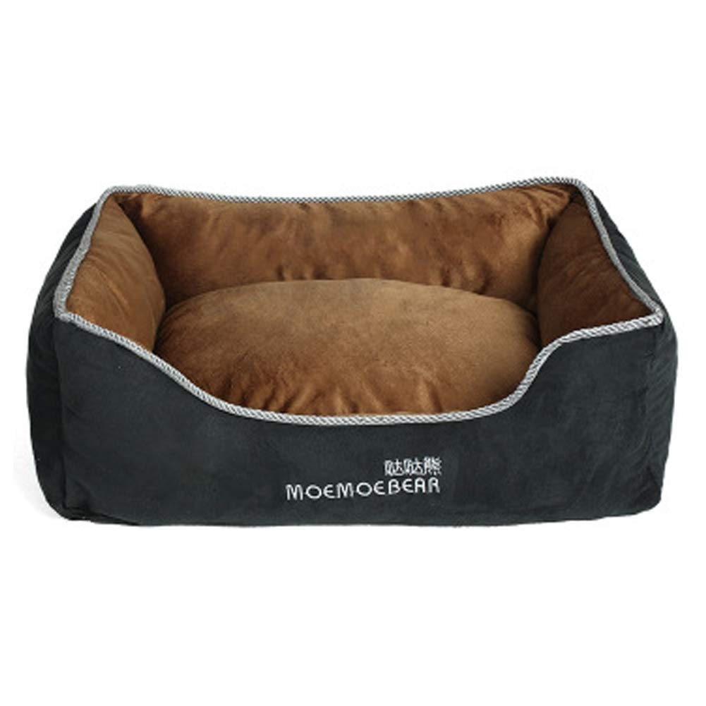 Brown S Brown S XGPT Pet Dog Beds Winter warm suede can be completely removed and washed square pet nest