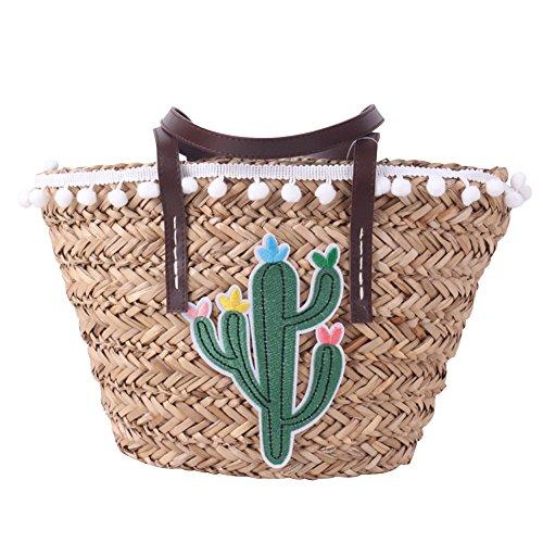 Sac à main en bambou,yunt sac à main sac à main demi-lune sac à bandoulière, sac à bandoulière tissé de voyage d'algues sac bandoulière pour les femmes