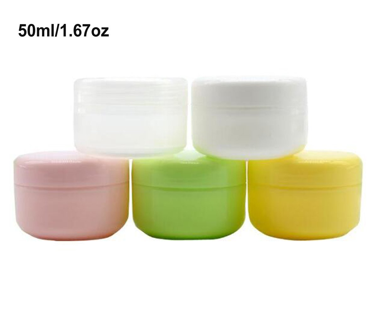Ericotry 6pcs 5Oml 1.67OZ Refillable Plastic Make-up Cosmetic Jars Empty Face Cream Lotion Eye Shadow Lip Balm Storage Container Pot Bottle Case Holder With Dome Lids (Green)