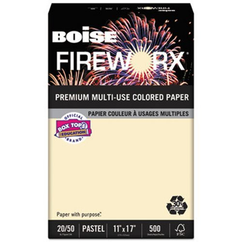 Boise FIREWORX Colored Paper, 20lb, 11 x 17, Flashing Ivory, 500 Sheets/Ream by Boise