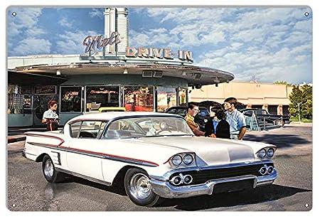 565pir Cartel de Garaje clásico 1958 Chevy At Mels Drive In ...