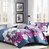 Mi-Zone Allison Comforter Set Full/Queen Size - White, Yellow, Grey, Floral – 4 Piece Bed Sets – Ultra Soft Microfiber Teen Bedding for Girls Bedroom