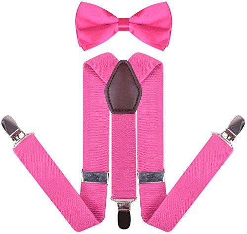(YJDS Boys' Leather Suspenders and Pre Tied Bowtie Set Hot Pink 30 Inches)