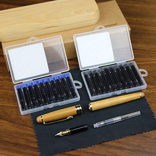 (ParEver Bamboo Fountain Pen with Wooden Handcrafted Gift Case, Executive Fountain Pens Set,Calligraphy Pens,Comes with Ink Cartridges,Ink Refill Coverter )