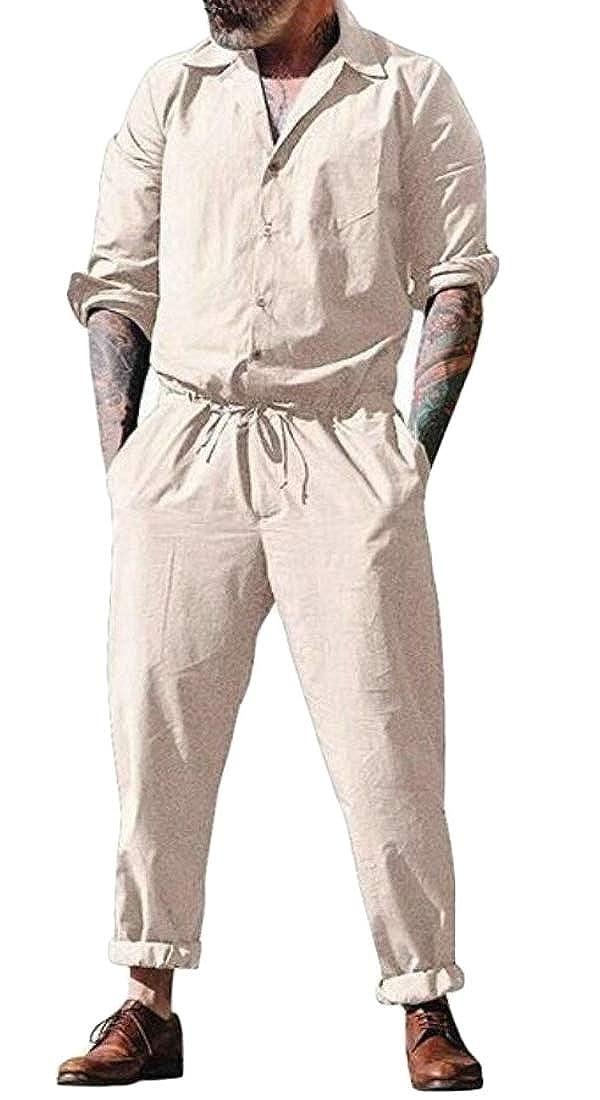 YONGM Men Long Romper Sleeve Cargo Pants Jumpsuit Siamese Playsuit Casual Jumpsuits