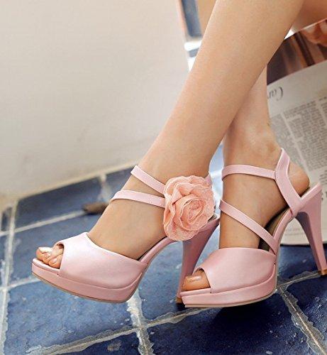 Carolbar Kvinners Blonder Applikasjon Bungee Brude Peep Toe Plattform Eleganse Stiletthæl Kjole Sandaler Rosa