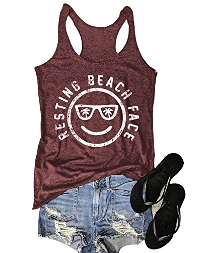 Mk Shop Limited Women's Resting Beach Face Sleeveless Funny Workout Tank Top T-Shirt (Burgundy, L)