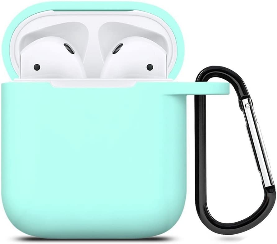 ZALU Compatible for AirPods Case with Keychain, Shockproof Protective Premium Silicone Cover Skin for AirPods Charging Case 2 & 1 (AirPods 1, Mint Green)