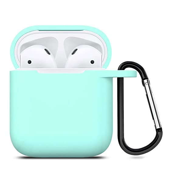Zalu Compatible For Air Pods Case With Keychain, Shockproof Protective Premium Silicone Cover Skin For Air Pods Charging Case 2 & 1 [Front Led Not Visible] [Wireless Rechargeable](Mint Green) by Zalu