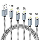 5 Pack (3ft,3ft,6ft,6ft,10ft) Nylon Braided Charging Cord Charger Compatible with PhoneX/8/8Plus 7/7 Plus/6s/6s Plus/6/6 Plus/5s/55se,Pad,Pod-Gray+White