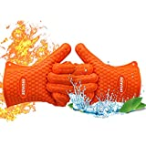 IHUADE BBQ Oven Gloves | Best Versatile Heat Resistant Grill Gloves | Grilling Mitts | Insulated Silicone Oven Mitts For Grilling | Waterproof | Orange (Operating Temperature Up to 450°F)
