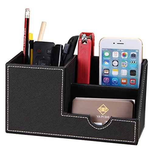 Pusu Pen Organizer PU Leather Desk Pen Pencil Holder Office Stationery Storage Box Business Cards/Mobile Phone/Remote Control Holder Desktop Accessories Organizer (Black-small) by PUSU