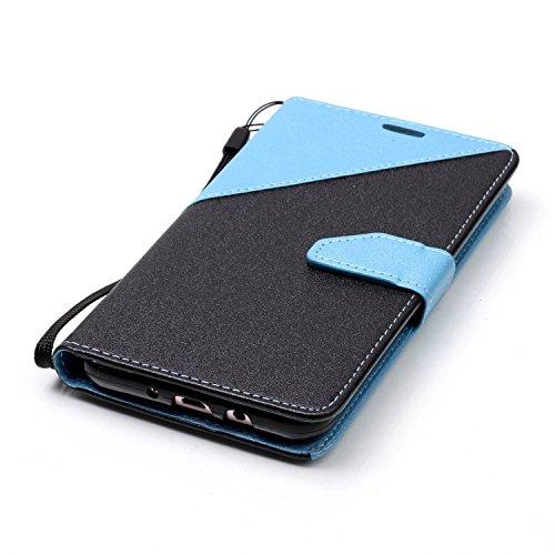 Funda Cover Samsung Galaxy J7 2016,Ukayfe Wallet Case Flip Funda de cuero PU Piel Monedero de Tarjeta Anti-Arañazo y Shock Resistente Protector Bumper Case Cover Accesorio con Colorful Empalme Diseño  Azul claro