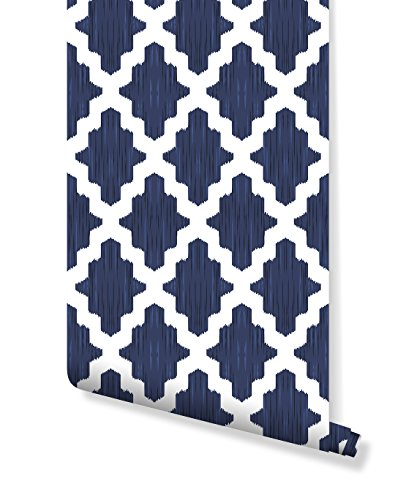 Temporary Self Adhesive Wallpaper Sample with Moroccan Damask Pattern in Navy Blue and White, Great for Bedroom & Living Room Wall Decor, Peel and Stick Application CC006 (Sample) ()