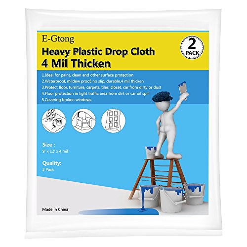 E-Gtong 2-Pack 4 Mil Heavy Duty Plastic Drop Cloth, 9-Feet by 12-Feet Clear Plastic Tarp Plastic Painting Tarp Plastic Sheeting, Waterproof Patio Furniture Covers