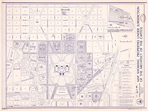 Architect Of The Capitol Washington Dc (8 x 10 Reprinted Old Vintage Antique Map of: c.1992 Map showing properties under jurisdiction of the Architect of the Capitol : [Capitol Hill, Washington, D.C.] m2964)
