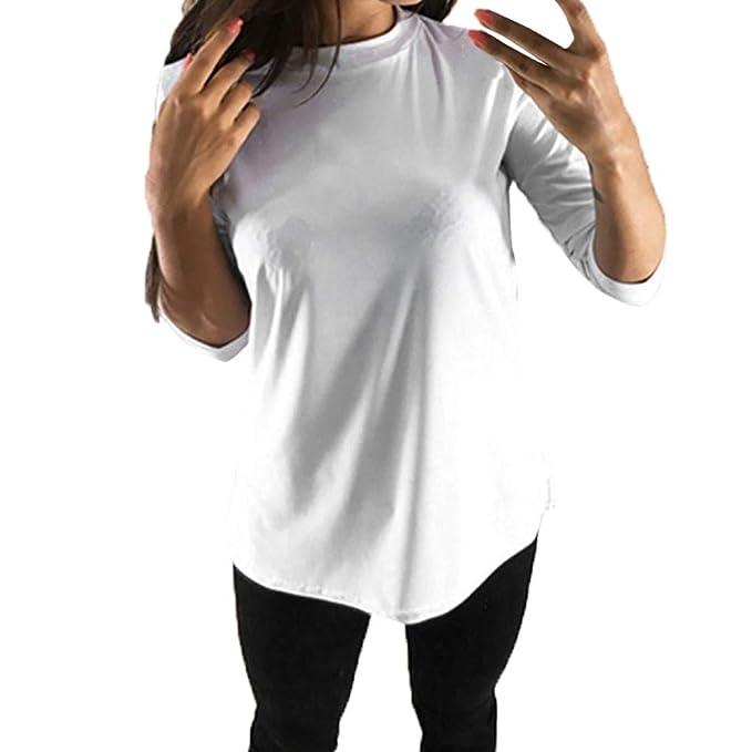 Camisetas de Mujer, LANSKIRT Mujeres Manga Larga Camisetas Ocio de Color sólido Ahuecar Vendaje Cruzado Blusas sin Respaldo Blusas: Amazon.es: Ropa y ...