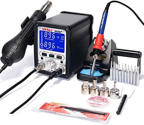 YIHUA 995D 2 in 1 Hot Air Rework and Soldering Iron Station – Multiple Functions F C