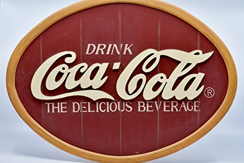 Coca-Cola Sign - Drink Coca-Cola The Delicious Beverage - Oval Composite Sign - Collectible