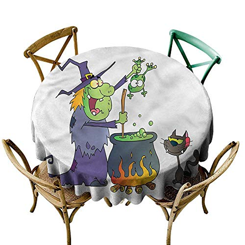 Luunins Round Tablecloth Plaid Witch,Cartoon Green Witch with Frog D54,for Bistro Table