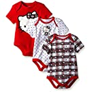 Hello Kitty Baby-Girls Bodysuits, Red/White, 0/3 Months (Pack of 3)