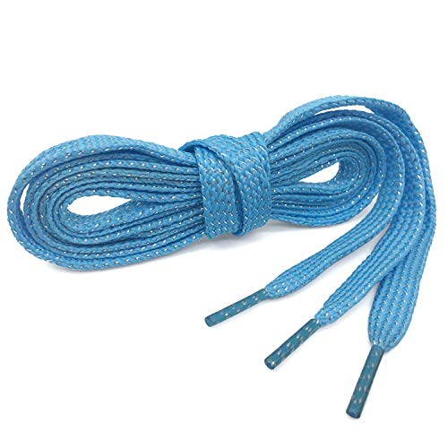 Flat Shiny Metallic Glitter Silver Shoelaces WEGOODZF Colored Shoe Laces Powder Blue[2 Pair 43.31