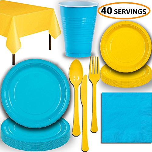 - Disposable Party Supplies, Serves 40 - Turquoise and Yellow - Large and Small Paper Plates, 12 oz Plastic Cups, Heavyweight Cutlery, Napkins, and Tablecloths. Full Two-Tone Tableware Set