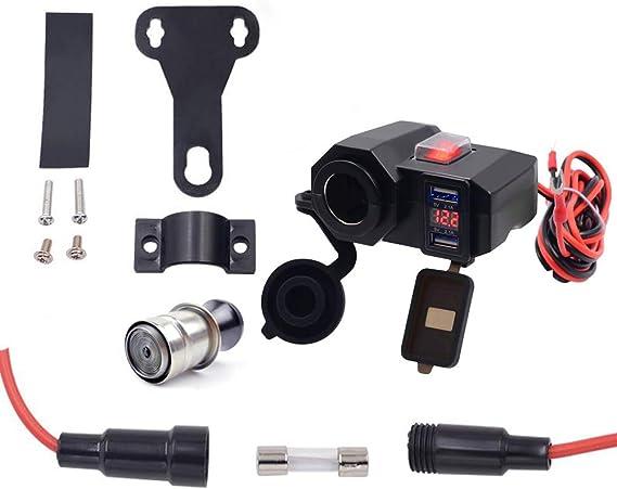Dual USB 12V Motorcycle Handlebar Phone Power Charger Outlet Socket Waterproof