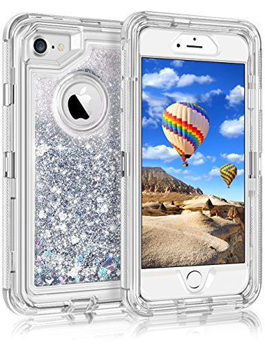 """iPhone 8 Case, iPhone 7 Case, Coolden 3D Glitter Shell Clear Quicksand Liquid Cover Dual Layer Shockproof Bumper Impact Resistant Anti-Drop Skin for 4.7"""" Apple iPhone 7/8 (Apple Iphone Clear Shell Cover)"""