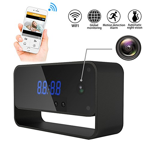 Hidden Camera WiFi Spy Camera Clock HD 1080P Wireless Security Cam for Home Nanny Cameras Starlight Auto Night Vision Remote View