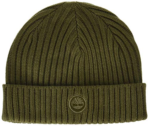 Timberland Mens Ribbed Beanie with Embroidered Logo Patch