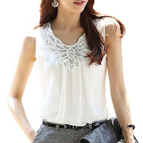 Hello 6 Chiffon Tank Tops Women Summer Elegant Sexy Sleeveless Vest white 6XL (Hello Sexy In Spanish)
