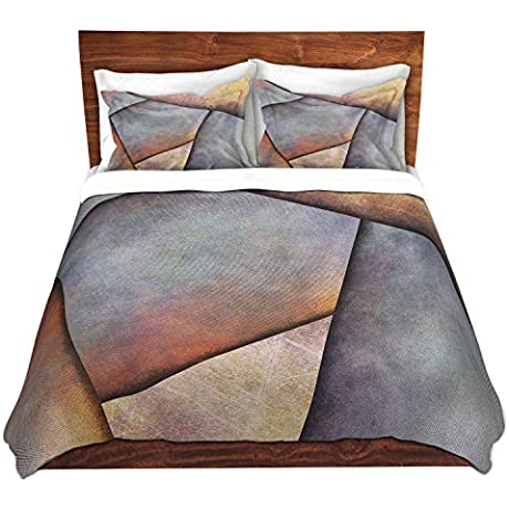 Duvet Cover Brushed Twill Twin Queen King SETs DiaNoche Designs Sylvia Cook Abstract Brown Grey