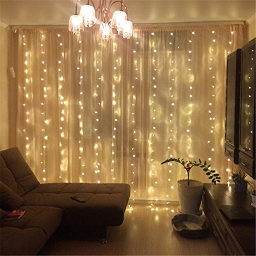 ZSTBT DM-300LW/1 300LED 9.84ft9.84ft/3m3m Window Curtain Lights for Party Wedding Home Patio Lawn Garden (Warm White)